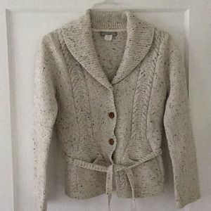 J Crew Women's Cable Knit Wool Cardigan Sweater M
